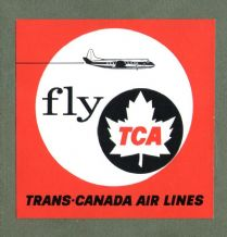 Vintage Airline label TCA Trans canada  luggage label #698
